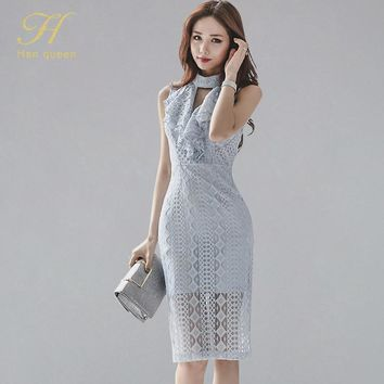 H Han Queen Summer Sleeveless Hollow Out Lace Dresses Sexy Elegant Korean Pencil Dress OL Sheath Bodycon Bottoming Vestidos