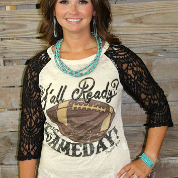 Football It's Game Day Baseball Burnout Tee with Black Crochet Sleeves