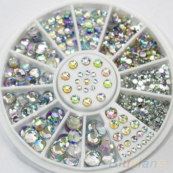 5 Sizes White Multicolor Acrylic Nail Art Decoration Glitter Rhinestones = 1652939844