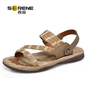 SERENE 2161 Summer Men's Sandals British Special Weaved Straw + Cow Leather Back Strap Wood Texture Sole Men Beach Sandals