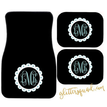 Car Mats - Solid Color Monogram Floor Mats / Custom Floor Mats / Monogram Car Mats / Personalized Car Mats