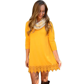 Women Long Sleeve Lace Patchwork Casual Yellow Dress