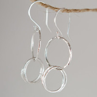 Sterling Silver earrings Hoop Earrings Handcrafted Sundance Style Jewelry Recycled Metal EcoFriendly Hammered Circles Everyday Jewelry
