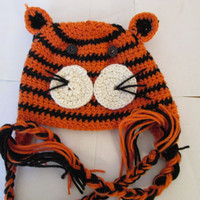 T is for Tiger. Super duper cute Tiger beanie, Hand made crocheted. Only 13.50, and coupon code avaliable.
