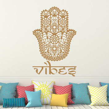 Wall Decal Hamsa Vinyl Sticker Decals Home Decor Vibes Hamsa Hand Eye Indian Buddha Yoga Fatima Ganesh Lotus Patterns Art Bedroom Dorm x189