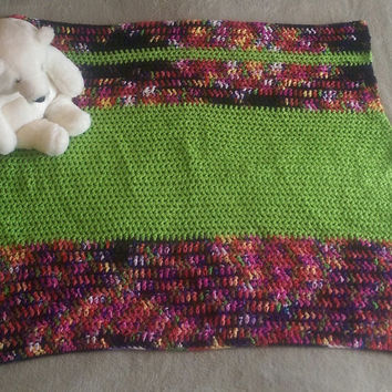 Crochet Baby Blanket Heirloom Handmade Afghan Throw Bold Gender Neutral Baby Blanket Lime & Variegated play pin crib stroller carseat travel