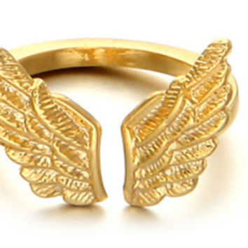 Pinky Ring - Lucien Gold Wing Ring. Cupid Winged Love Ring. Adjustable Gold  Ring