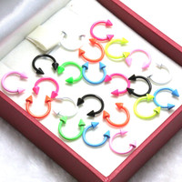 2pcs 1.2*8*3mm 16G Anodized Stainless Steel Neon Color Body Jewelry Horseshoe Nose Piercing Septum Lip Ring Circular Piercings