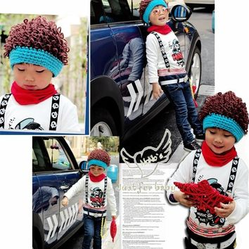 New Baby Boy Beanie/outdoor caps Baby Knit Crochet Rib Afro Bob Clown Wig Fake Hair Beanie Hat Warm Hat