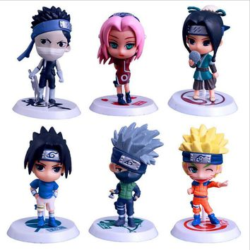 Naruto Sasauke ninja 6 Pcs/ Set Cool  Action Figures Toy Doll Anime Figurine Collection Desk Car Toy Q Edition 8CM PVC Model Children Toys Gift AT_81_8