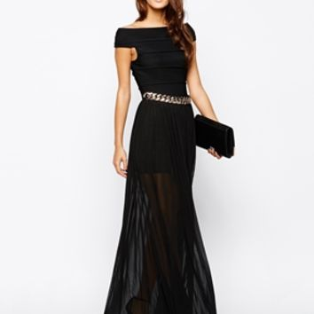 Rare Bardot Maxi Dress with Chain Belt