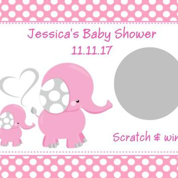10 Pink Elephant Baby Shower Scratch Off Cards Polka Dot