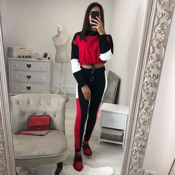 Women Red Patchwork Casual Two Piece Set Sexy Crop Top Skinny Pants Vintage Sweatsuits 2 Piece Tracksuits Streetwear Female Suit