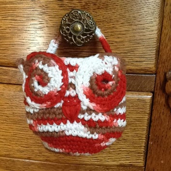 Owl Basket for doorknob, crochet in shades of rust, cream, brown, and red cotton