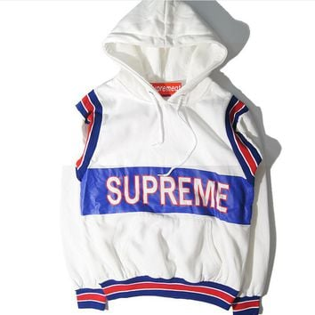 Autumn and winter new supreme printed hooded head sweater jacket men and women models
