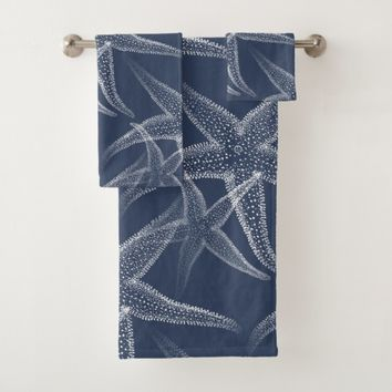 Starfish Navy Blue Beach Towel Set