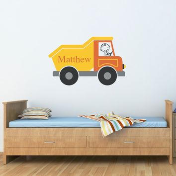 Dump Truck Decal - Boy Bedroom Decor - Dumptruck Wall Art - Personalized Decal - Children Wall Sticker - Printed Decal