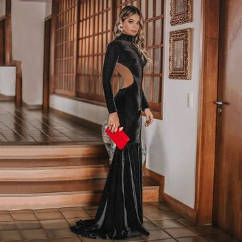 Autumn Mermaid Evening Elegant Dress 2018 Long Sexy Long Sleeve Bodycon Formal Celebrity Velet Evening Gown Dresses Robe Longue