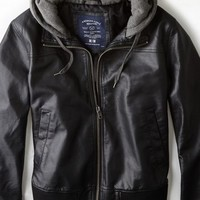 AEO 's Hooded Bomber Jacket (Black)