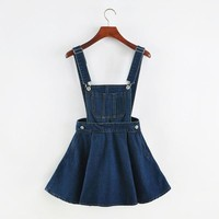"""DETACHABLE DENIM"" OVERALL SKIRT"