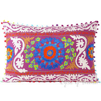 """Purple Suzani Embroidered Decorative Throw Pillow Cushion Cover - 24 X 16"""""""