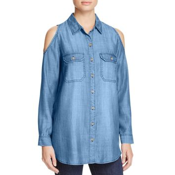 Aqua Womens Tencel Chambray Button-Down Top
