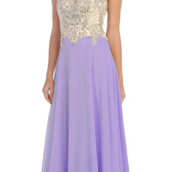 Starbox USA L6098 Lilac Illusion Bateau Neck Chiffon Jeweled Bodice Cap Sleeves Prom Dress