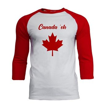 Canada Day 'Eh Pun Red Mens Soft Raglan T Shirt