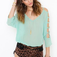Chiffon Cutout Blouse - Mint in Clothes Tops at Nasty Gal