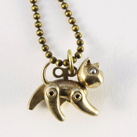 steampunk bronze cat Baby robokitty in bronze with long antiqued ball chain
