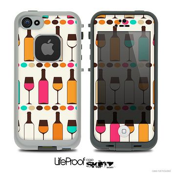 The Vectored Color Wine Glasses & Bottles Skin for the iPhone 4 or 5 LifeProof Case