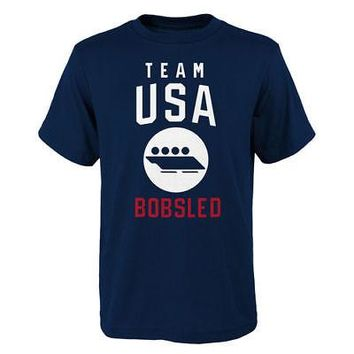 Licensed Sports Team USA 2018 Winter Olympics Bobsled Team Sport Pictogram T-Shirt - Navy KO_20_2