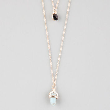 Full Tilt Crystal/Stone Moon 2 Row Necklace Gold One Size For Women 25825262101