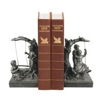 Sterling Pair Of Boy And Girl On Swing Book Ends
