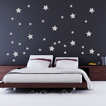 Stars Decal Midnight Sky Wall Sticker Starry Night Gaze Twinkle Celebrate Festive Cosmos Celebrity Grey Star Van Gogh Dream