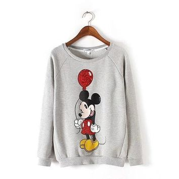 Autumn and Winter New Style Women Fashion Sequin Hoodies, Female Brand Casual Mickey Printed Sweatshirt, O-neck Cotton Pullovers
