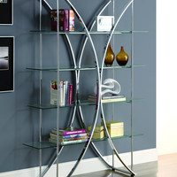 "Chrome Metal 72""H Etagere With Tempered Glass Shelves"