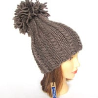 Pom pom hat - taupe hat for women - handknit hat - chunky knit hat - tall hat - warm winter hat - wool knit hat with pompom - birthday gift