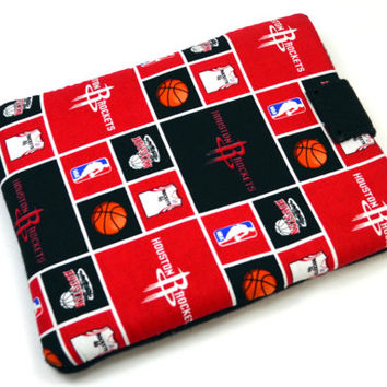 Hand Crafted Tablet Case From Licensed Houston Rockets  Basketball Fabric / Case for: iPad Mini,Kindle Fire HD 7,Samsung Galaxy 7, Nook 7