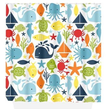 Ocean SHOWER CURTAIN Custom Monogram Personalized Sea Animals