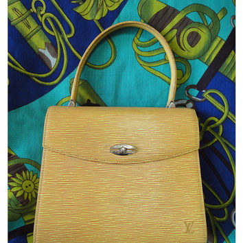 Vintage Louis Vuitton yellow epi Malesherbes handbag. Classic purse for Spring and summer season. Happy color