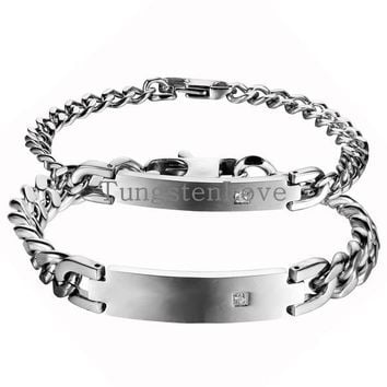 2015 Simple Glossy Silver Color Stainless Steel ID Bracelet For Men Women with Crystal Punk Rock Chain Bracelets casal pulseira