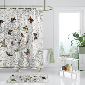 Butterfly Shower Curtain - Map, unique, retro, earth tone, travel decor, butterfly effect