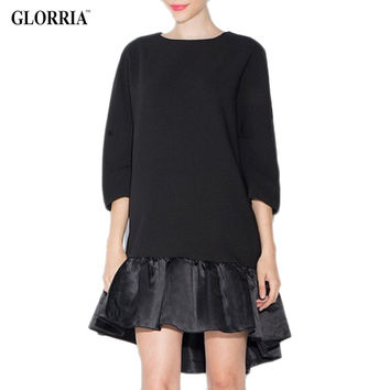 Glorria New Women Girls Long Loose Black Blouses Patchwork O-Neck Three Quarter Sleeve Ruffles Tops Summer Casual Fashion Shirts