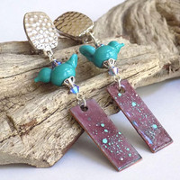 Clip on Dangle Earrings, Bird Earrings, Long Drop Earrings for Women, Handcrafted Jewelry, Perfect Gift for Mom, Purple Earrings