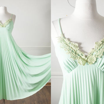 Vintage 70s Crochet Dress | Plunging Accordion Pleated Maxi Dress Hippie 70s Dress Boho Festival Gypsy Romantic Pistachio Green Dress Retro