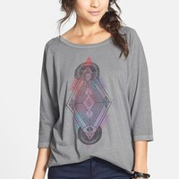Cea + Jae 'Spirit Eyes' Three Quarter Sleeve Tee (Juniors) | Nordstrom