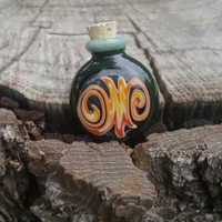 Forest and Fire - hand blown glass vial