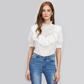 Embroidered Frill Trim Puff Sleeve  Elegant Blouse With Ruffle Button