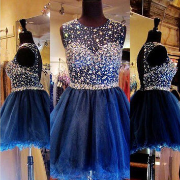 BAISIYOUPIN Sparkly Crystal Sequined Short Cocktail Dresses A Line Organza Sleeveless Graduation Party Homecoming Dress Vestido